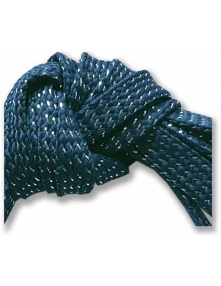 Veters glitter blauw-zilver 9mm - 110cm