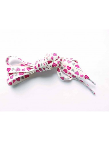 Wit met roze en grijze hartjes 12mm - 120cm