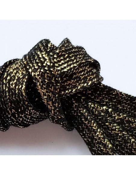 Veters glitter zwart-goud 10mm
