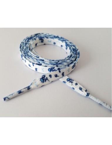 Veters bloemen blauw 8mm - 120cm