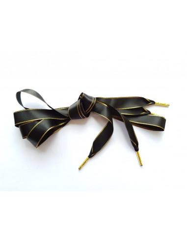 Veters satijn lint glitter zwart-goud 16mm