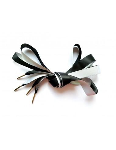 Veters satijn lint zwart-wit 16mm