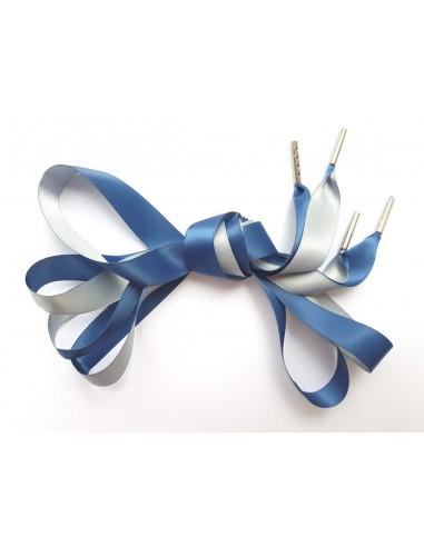 Veters satijn lint blauw-grijs 16mm
