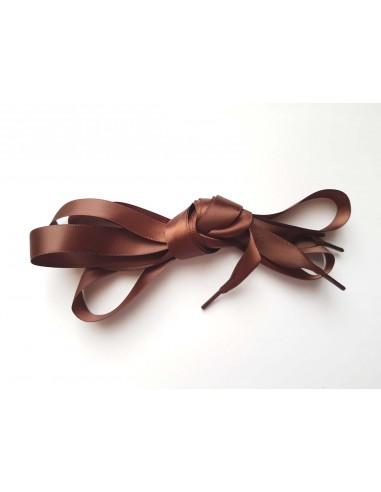 Veters satijn lint bruin 15mm