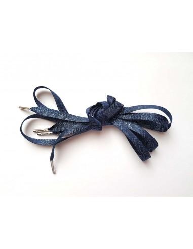 Veters glitter visgraat blauw-zilver 10mm
