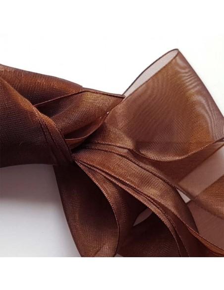 Veters organza lint bruin 40mm