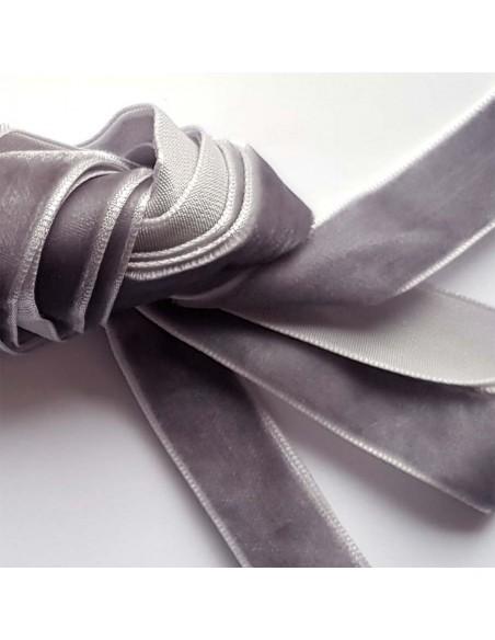 Veters fluweel zilvergrijs 16mm