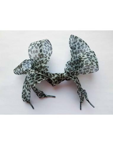 Veters organza lint luipaard zwart-zilver 40mm
