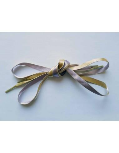 Veters satijn lint lila-geel 10mm