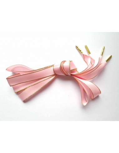 Veters satijn lint glitter roze-goud 16mm - 120cm