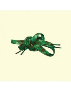 Veters kerst groen met sneeuwvlokken 12mm - 90cm