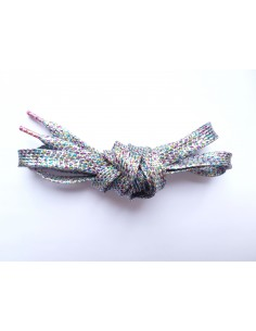Veters glitter zilver-multicolour 10mm - 110cm