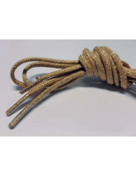 Veters glitter beige/goud rond - 110cm