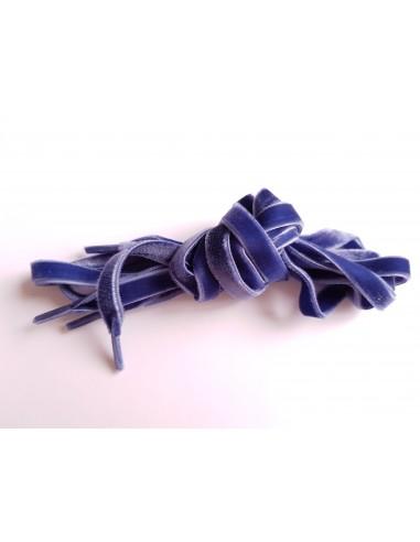 Veters dubbel fluweel blauw 10mm - 120cm