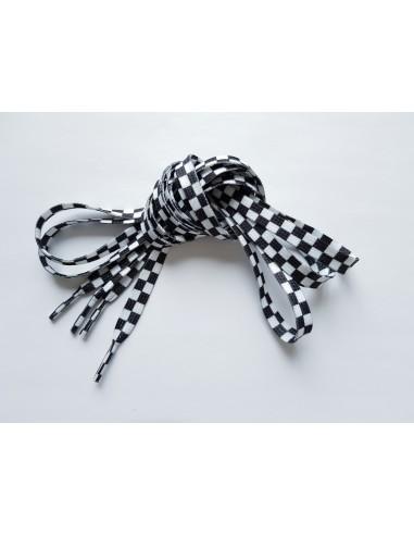 Veters blokjes/schaakbord zwart-wit 10mm - 130cm