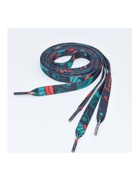 Veters zwart-turquoise art 8 mm - 120cm