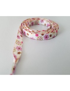 Veters bloemen roze/bruin 8mm - 120cm