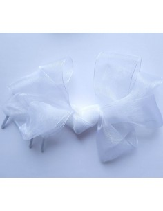 Veters organza lint wit 40mm - 120cm