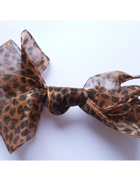Veters organza lint luipaard zwart-bruin 40mm - 110cm