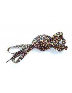 Veters luipaard/panter/tijger okergeel-zwart-oranje 10mm - 120cm